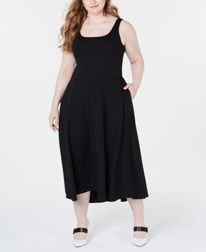 Alfani Plus Size Sleeveless Fit & Flare Midi Dress, Created for Macy's
