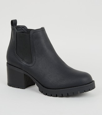 New Look Leather-Look Cleated Chelsea Boots