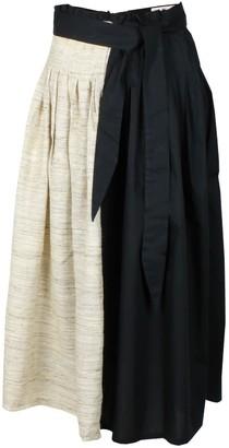 Maraina London Felipa Raw Silk Pleated Midi Skirt In Black & Brown
