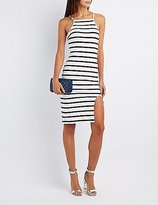 Charlotte Russe Striped Bib Neck Bodycon Dress