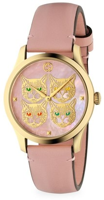 Gucci G-Timeless Contemporary Cats Goldtone PVD & Leather Strap Watch