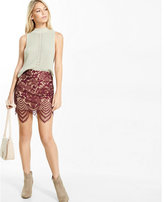 Express floral lace mini skirt