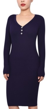 Planet Gold Juniors' Henley Bodycon Sweater Dress