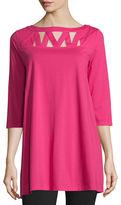Joan Vass 3/4-Sleeve Yoke-Cutout Tunic, Black, Plus Size