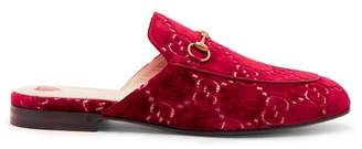 Gucci Princetown Velvet Backless Loafers - Womens - Red