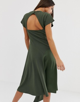Asos Design DESGIN mixed fabric midi dress with open back-Green
