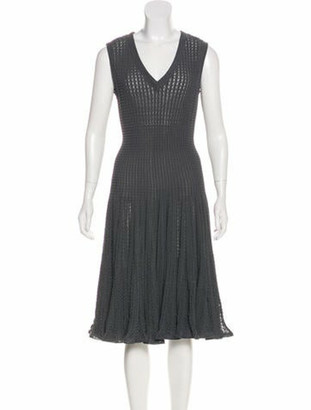 Alaia Vintage Fit and Flare Dress Blue