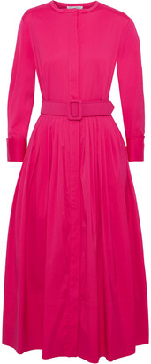 Oscar de la Renta Belted Pleated Cotton-poplin Midi Dress