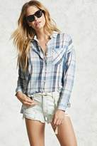 Forever 21 High-Low Plaid Shirt