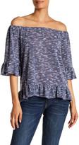 Gibson Ruffle Trim Slub Knit Shirt