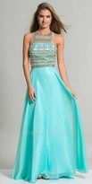 Dave and Johnny Beaded Abstract Design Prom Dress
