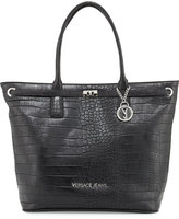 Versace Faux-Leather Croc-Embossed Large Tote Bag, Black