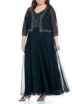 J Kara Plus Beaded Chiffon Jacket Gown