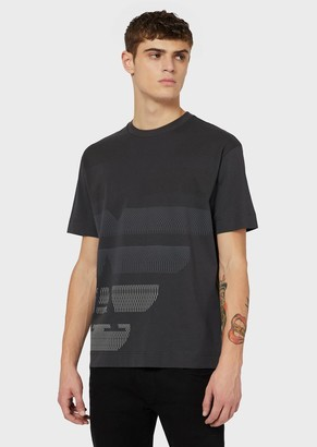 Emporio Armani Jersey T-Shirt With Oversized, Op-Art Eagle Motif