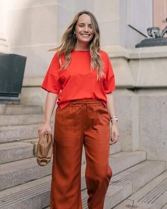 The Drop Women's Fiery Orange Drop Shoulder Tee With Side Slits by @graceatwood M