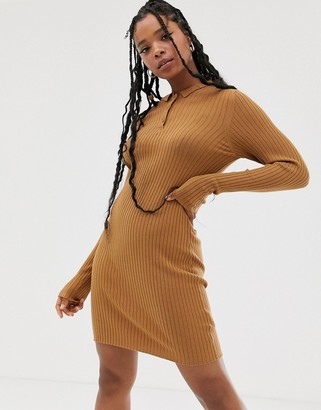 Noisy May knitted polo shirt dress in camel
