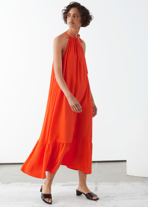 And other stories Halterneck A-Line Midi Dress