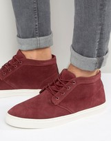 Pull&Bear Suede Desert Boot With Sneaker Sole In Burgundy