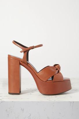 Saint Laurent Bianca Knotted Leather Platform Sandals - Tan