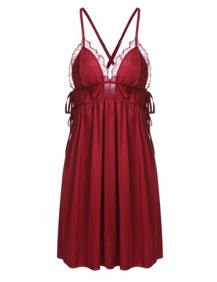 Ekouaer Sleepwear Womens Chemise Nightgown Full Slip Satin Lounge Dress Split Nightdress Red