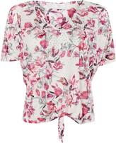 Wallis PETITE Pink Floral Print Tie Front Top