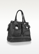 Coccinelle Turnlock - Suede and Patent Eco-Leather Satchel Bag