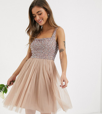 Maya Petite Bridesmaid contrast delicate sequin square neck mini prom skater dress in taupe blush