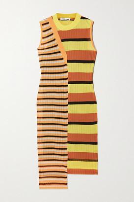 McQ Kingo Paneled Striped Ribbed-knit Dress - Orange