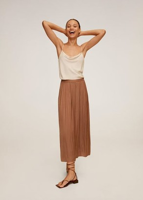 MANGO Elastic waist pants brown - XS - Women