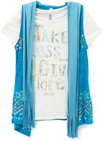 Beautees Turquoise Geo 'Take Less' Top Set - Girls
