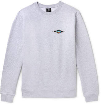 Stussy Printed Melange Fleece-Back Cotton-Blend Jersey Sweatshirt