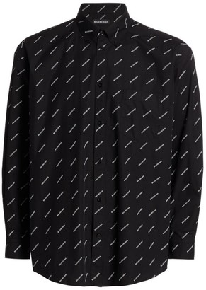 Balenciaga Classic-Fit Allover Logo Shirt