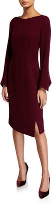 Rickie Freeman For Teri Jon Long Sleeve Double Faced Wool Sheath Dress w/ Pearlescent Trim