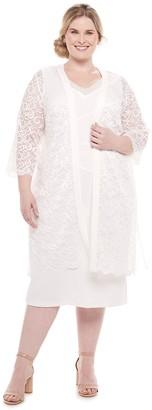 Maya Brooke Plus Size Dress & Lace Duster Jacket Set