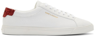 Saint Laurent White and Red Glittered Andy Sneakers