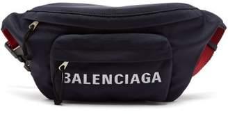 Balenciaga Logo-embroidered Belt Bag - Womens - Red Navy