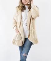 Lydiane Women's Non-Denim Casual Jackets CREAM - Cream Faux-Fur Hooded Cocoon Jacket - Women