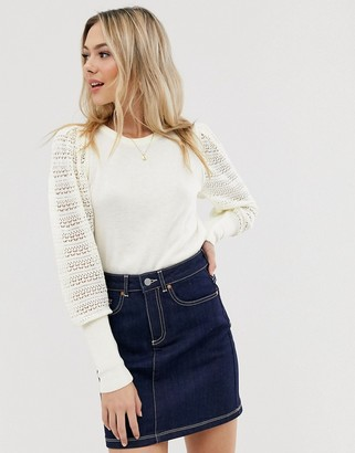Asos DESIGN jumper with pointelle sleeve detail