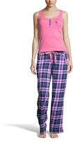 U.S. Polo Assn. Hard Coral & Navy Plaid Pajama Set