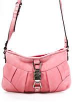 B. Makowsky Pink Leather Silver Tone Zipper Small Shoulder Handbag