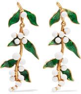 Oscar de la Renta Enameled Gold-plated Earrings