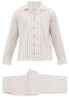 KING & TUCKFIELD Striped Cotton-blend Poplin Pyjamas - Red Multi