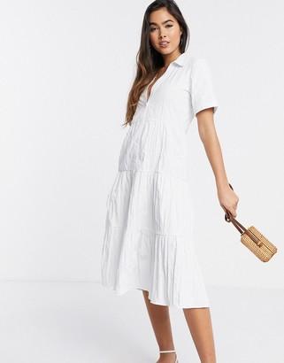 Stradivarius button front poplin midi dress in white