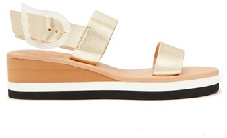 Ancient Greek Sandals Clio Rainbow Wedge-heel Leather Sandals - Womens - Gold
