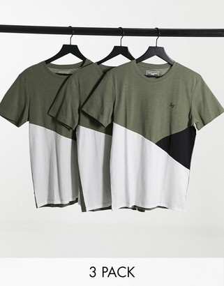 Jack and Jones regular fit spliced t-shirt in olive green