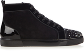 Christian Louboutin Lou crystal-embellished suede high-top trainers