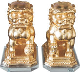 Couture Asst. of 2 Foo Dog Statues, Gold