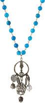 Love Heals Beaded Blue Jade Bronze Pendant Necklace