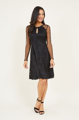 Yumi Black Lace Mesh Skater Dress