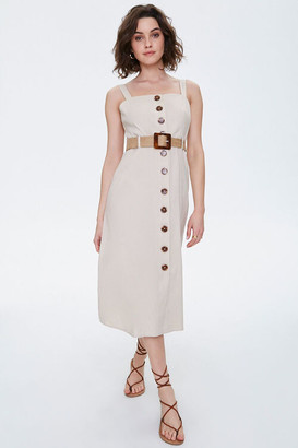 Forever 21 Linen-Blend Belted Midi Dress